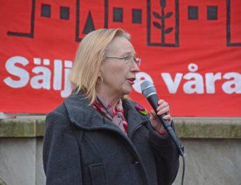 Manifestation på Fristadstorget i Eskilstuna mot privatiseringarna av allmännyttan